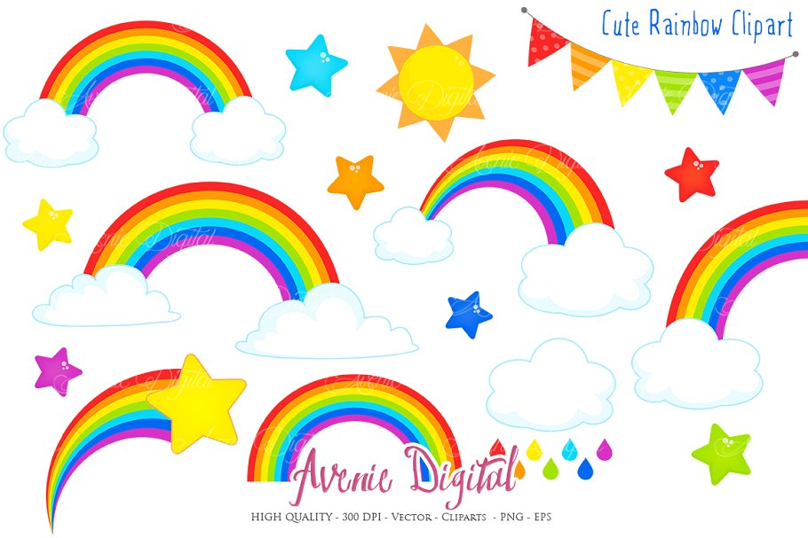 Cloud and rainbow clipart picture library stock Cute Rainbow Clipart + Vector picture library stock
