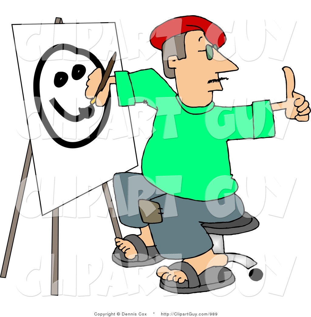 Art clipart drawing svg black and white download Clip Art of a Male Artist Drawing a Smiley Face on Canvas with a ... svg black and white download
