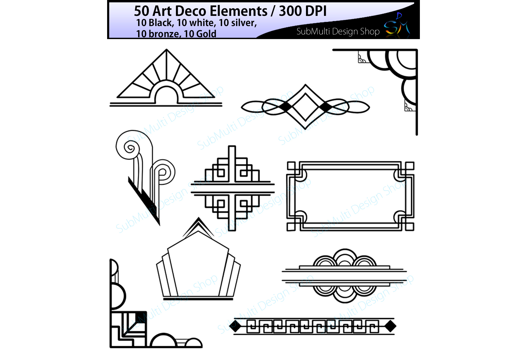Art deco black and gold design clipart image free Art deco art deco elements art deco element clipart art deco element in  gold, bronze, silver , black and white colors High Quality image free