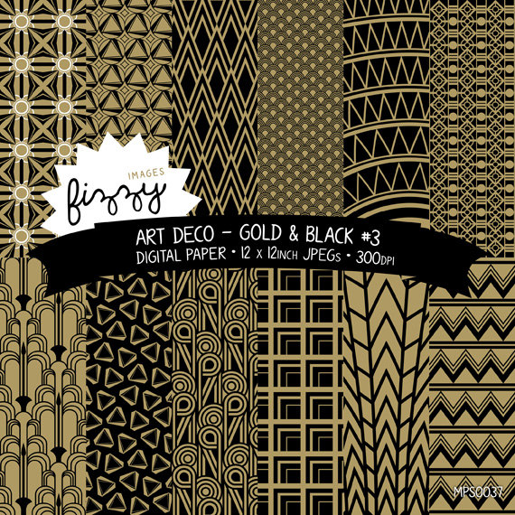 Art deco black and gold design clipart clipart royalty free stock 12 x Art Deco Great Gatsby 1920s 1930s Gold Black (No.3) Patterned ... clipart royalty free stock