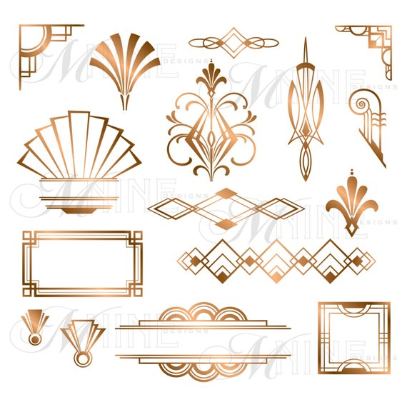 Art deco medallion clipart svg library stock BRONZE ART DECO Accents Clipart: Design Elements, Instant Download ... svg library stock
