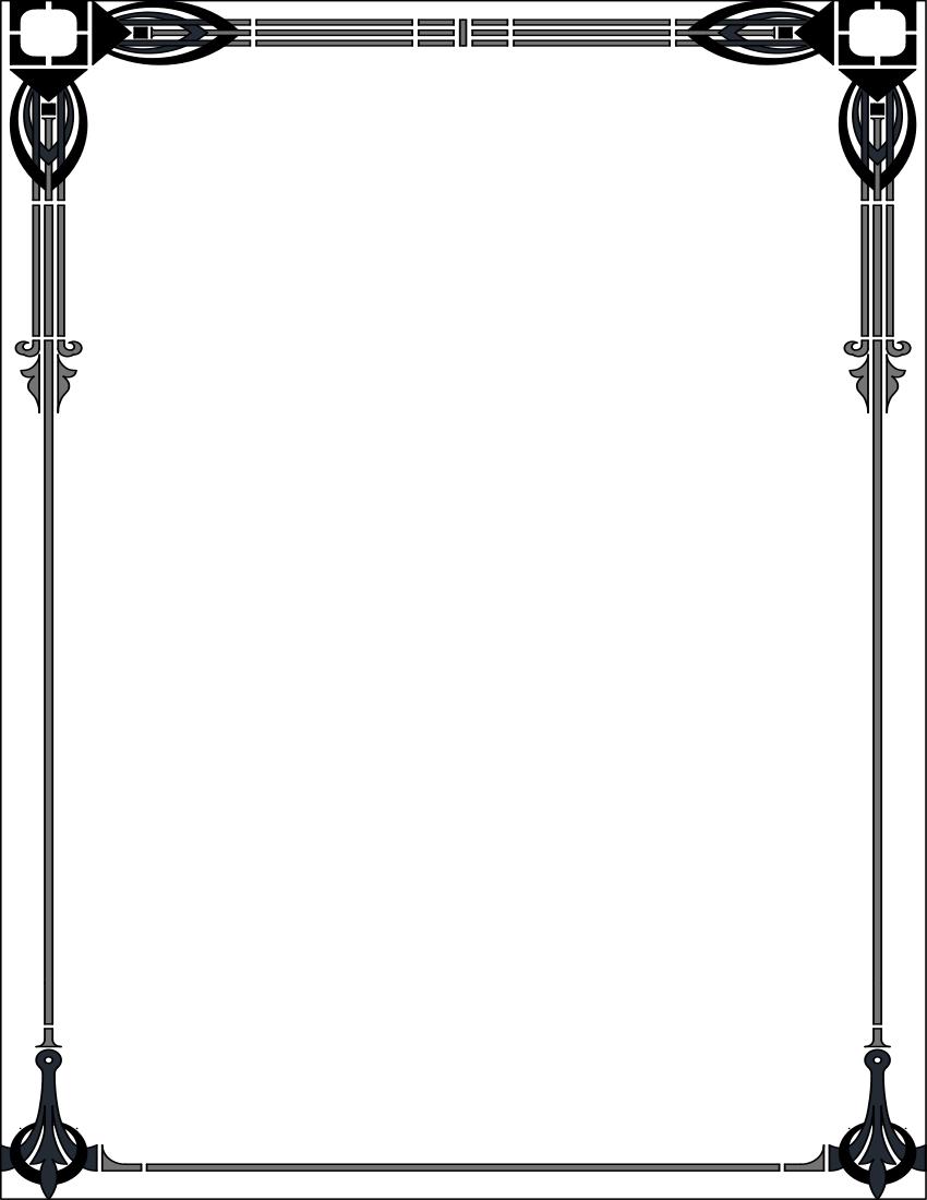 Art nouveau frame clipart black & white png Free download Art Deco Border Clipart for your creation. | Art ... png