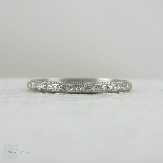 Art deco engraving patterns clipart royalty free Narrow Hand Engraved Platinum Wedding Ring with Orange Blossom ... clipart royalty free