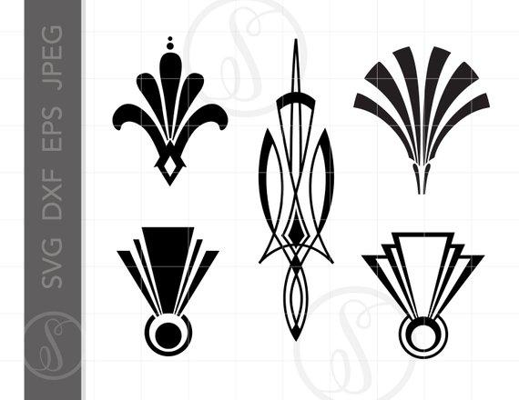 Art deco fountain clipart svg free download Art Deco SVG Dxf Eps Jpeg Downloads Art Deco Cut File Clipart ... svg free download