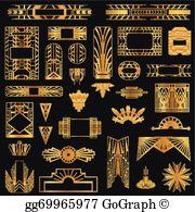 Art deco vectors clipart svg library stock Art Deco Clip Art - Royalty Free - GoGraph svg library stock