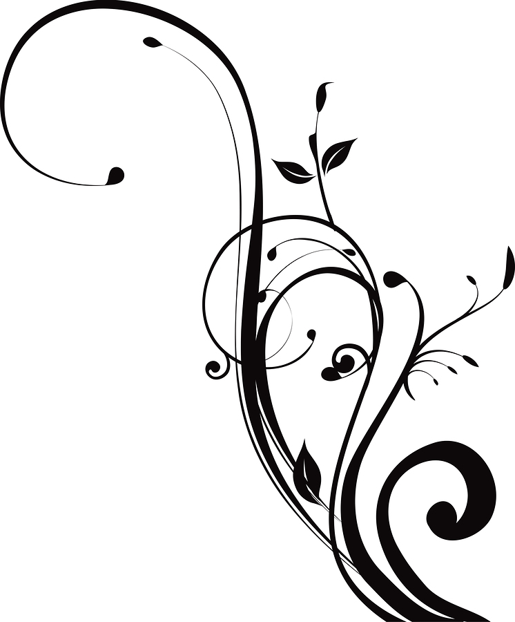 Black and white swirly clipart