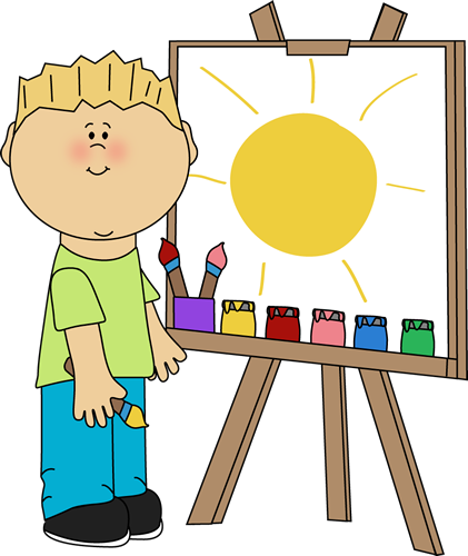 Boy Painting on an Easel Clip Art - Boy Painting on an Easel Image ... png freeuse stock