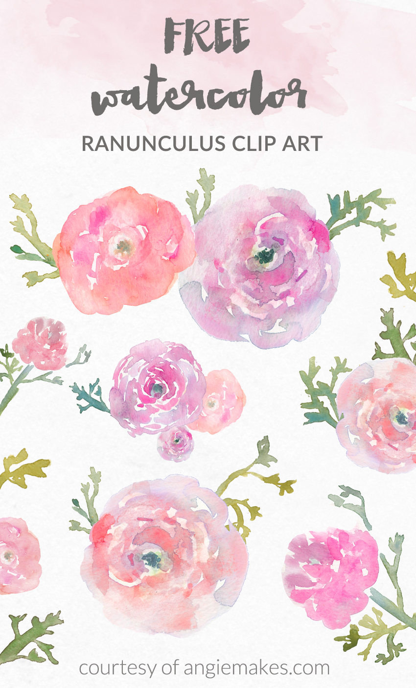 Art flowers pictures free picture royalty free library Angie Makes - Free Watercolor Flower ClipArt picture royalty free library