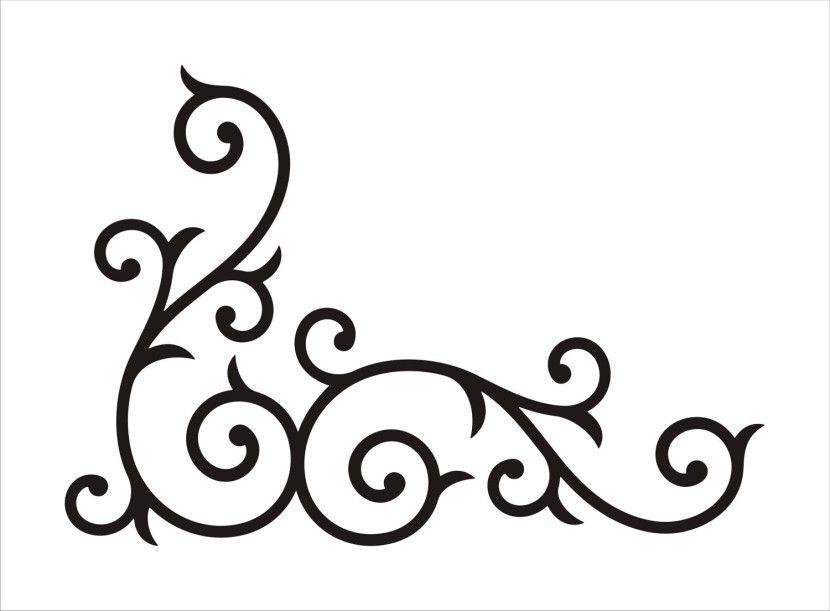 Clipart swirls and scrolls svg black and white library Corner Scroll Design Clipart Free Clip Art Images | Sketch | Scroll ... svg black and white library