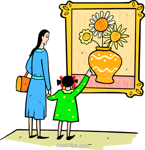 Art museum clipart svg library stock mother and daughter at the art museum Royalty Free Vector Clip Art ... svg library stock