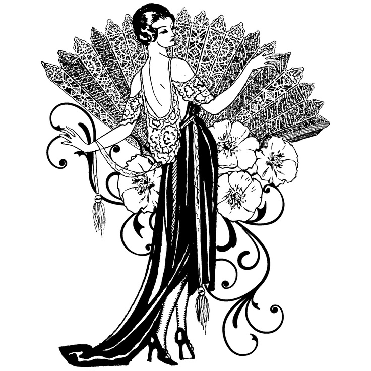 Art nouveau tree woman clipart clip art black and white Free Art Deco Cliparts, Download Free Clip Art, Free Clip Art on ... clip art black and white