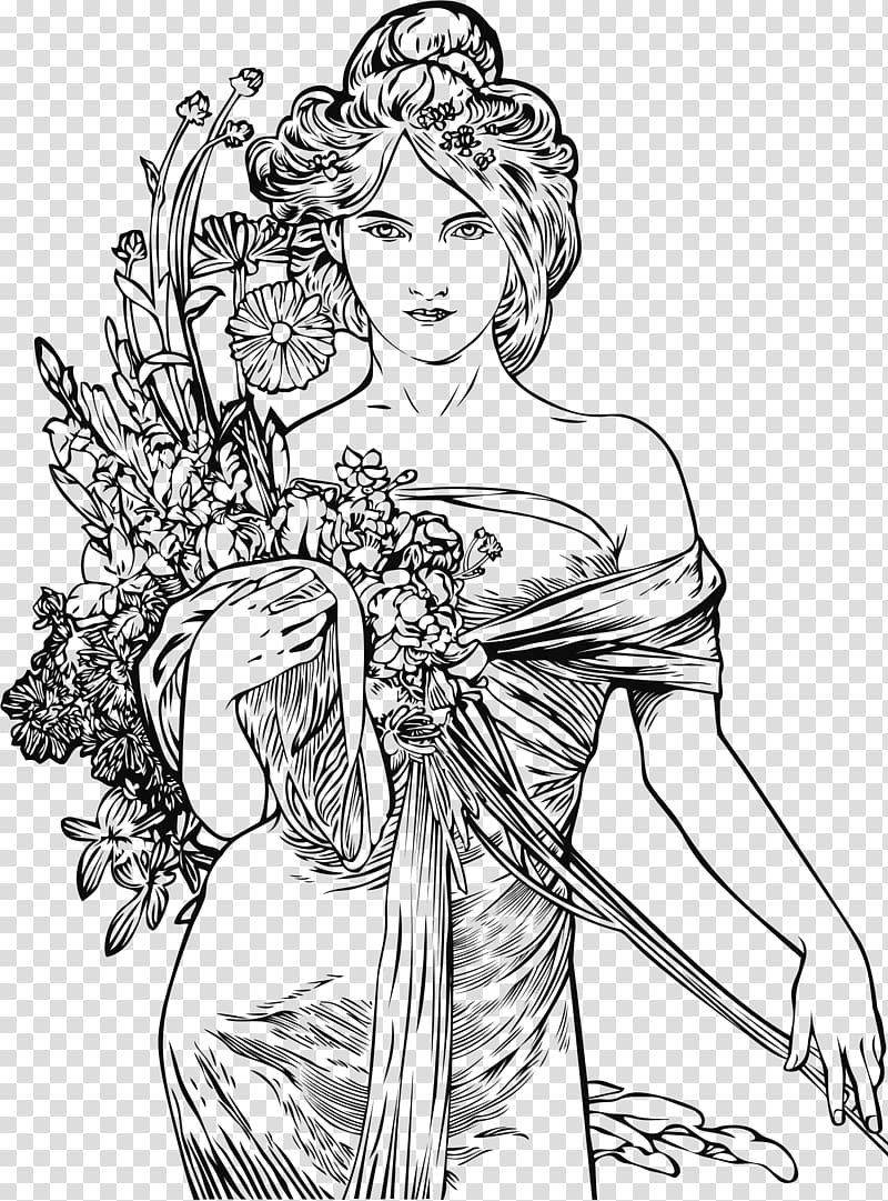 Art nouveau tree woman clipart png freeuse library Alphonse Mucha\\\'s Art Nouveau: A Vintage Coloring Book,Volume 1 ... png freeuse library