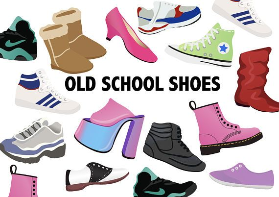 Art palette sneakers clipart black and white OLD SCHOOL SHOES Clipart - Retro shoe icons 80\'s 90\'s - printable ... black and white