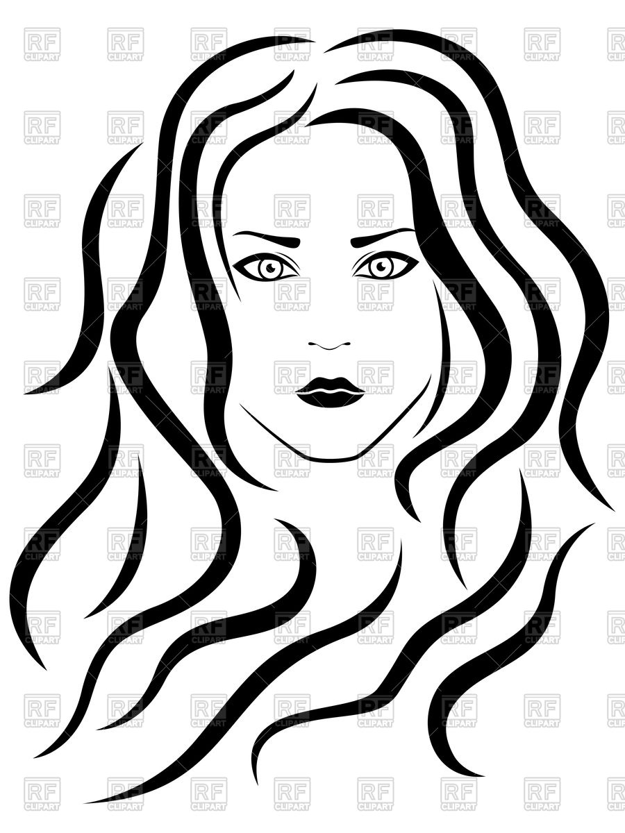 Art portrait girl clipart svg black and white Girl Portrait Drawing | Free download best Girl Portrait Drawing on ... svg black and white