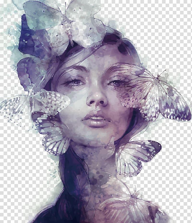 Art portrait girl clipart clip library download Drawing Digital art Portrait Illustration, butterfly woman, woman ... clip library download