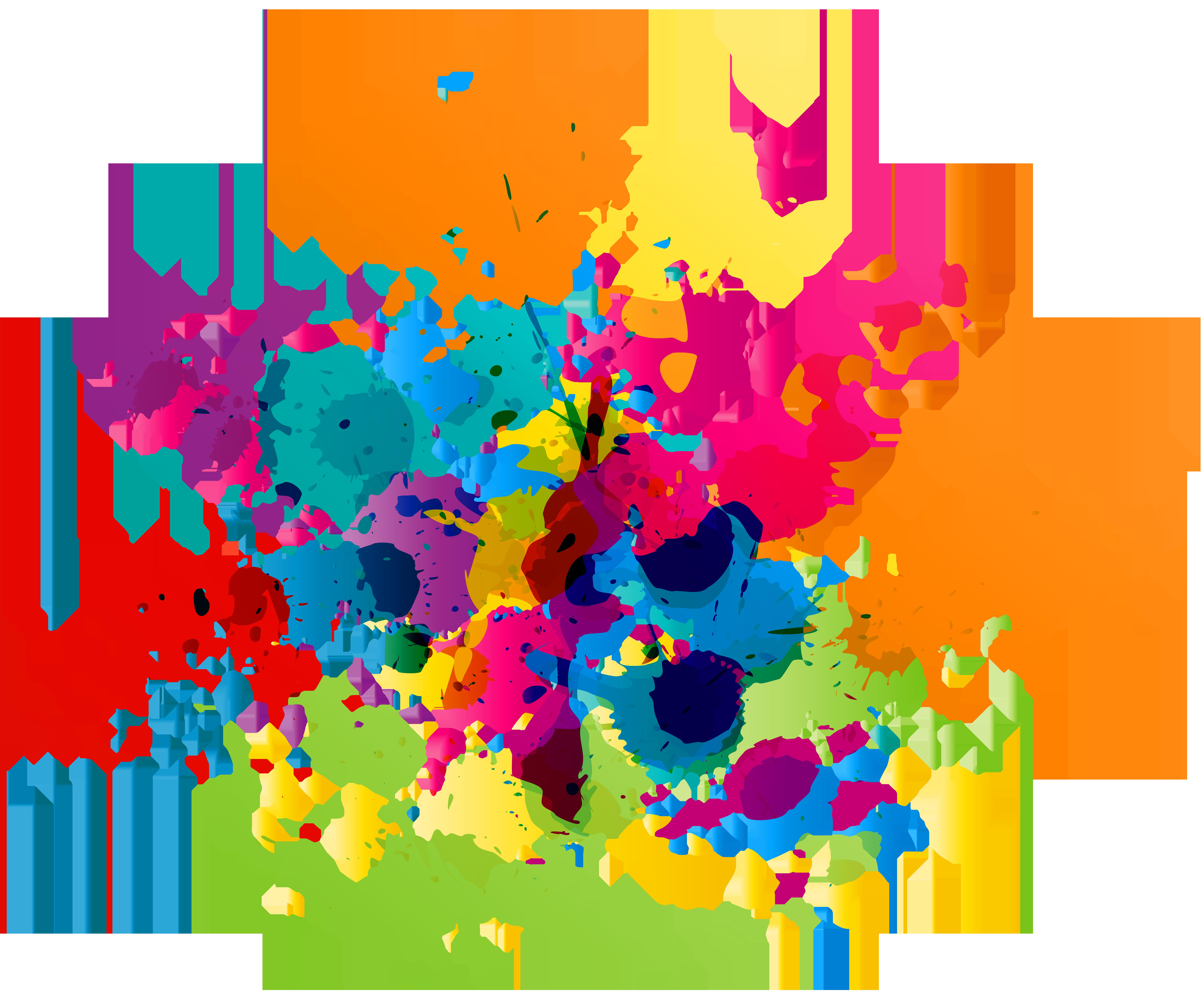 Splatter clipart transparent vector library library Colorful Paint Splatter Transparent Clip Art Image | Gallery ... vector library library