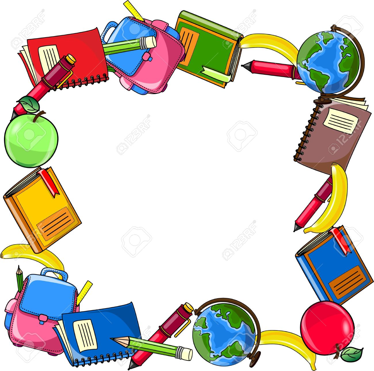 School supplies background clipart