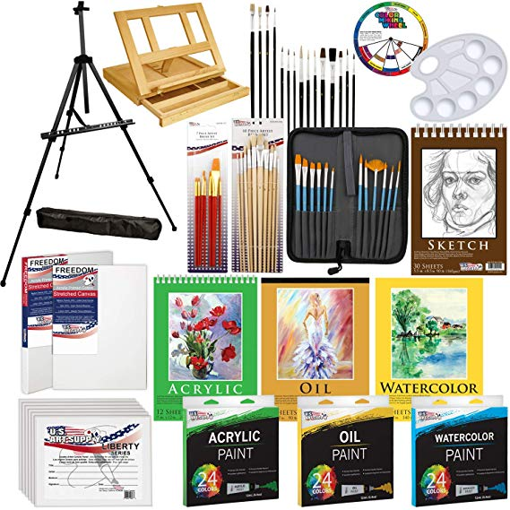 Art supply color clipart black and white US Art Supply 133pc Deluxe Artist Painting Set with Aluminum and Wood  Easels, Paint and Accessories black and white