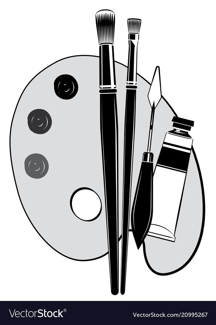 Art tools clipart clip art stock Artist painting tools brush palette clip art stock