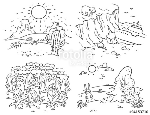 Artic clipart black and white png royalty free stock Set of four different climatic zones - desert, Arctic, jungle and ... png royalty free stock