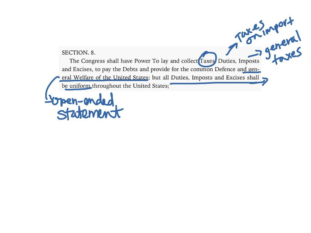 Article 1 section 8 transparent Article 1 Section 8 Clause 1 | AP Government | ShowMe transparent
