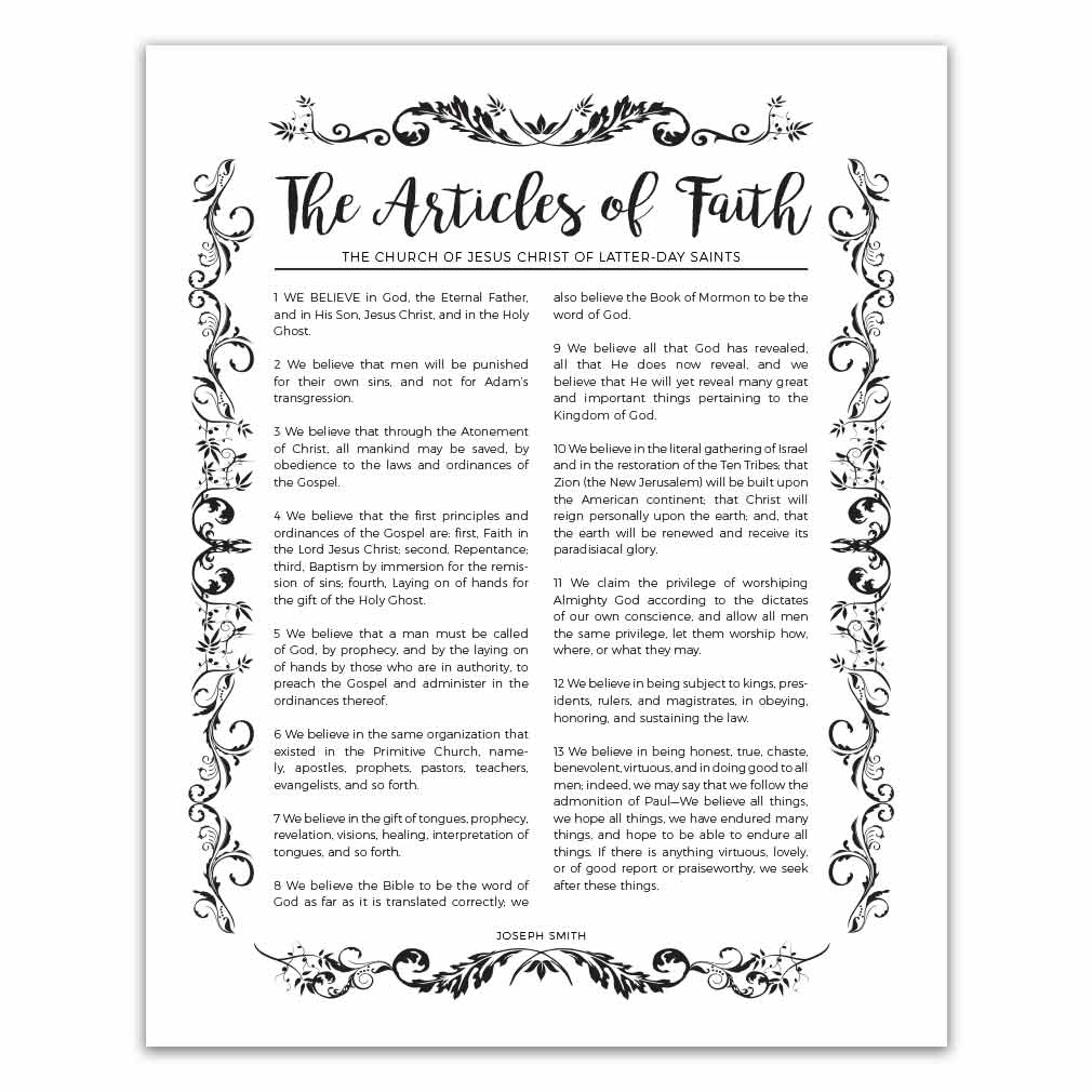 Articles of faith clipart image library download Organic Articles of Faith - Black - Printable image library download