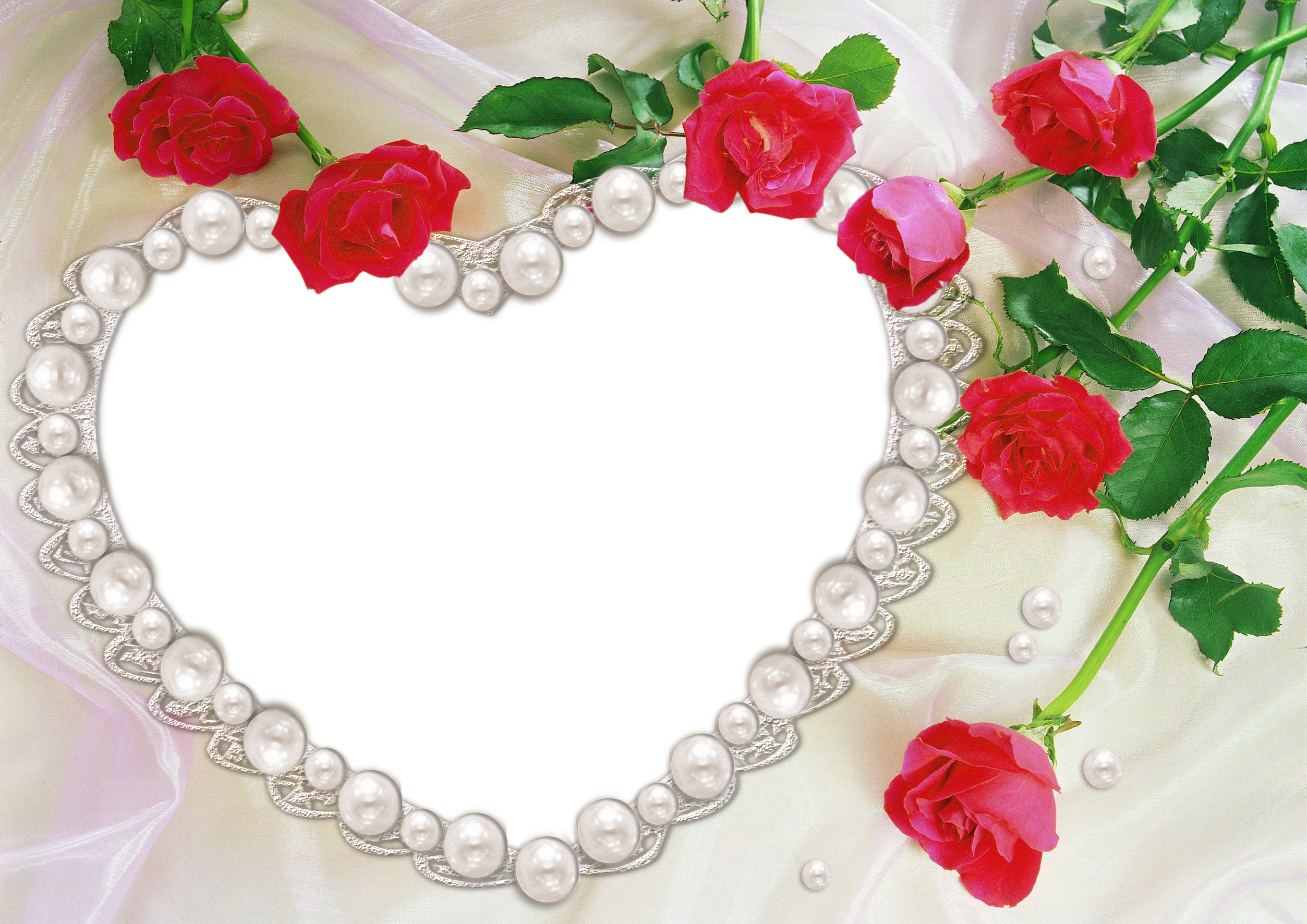 Artificial heart clipart banner royalty free library Pearl Heart and Roses Transparent Frame | Gallery Yopriceville ... banner royalty free library