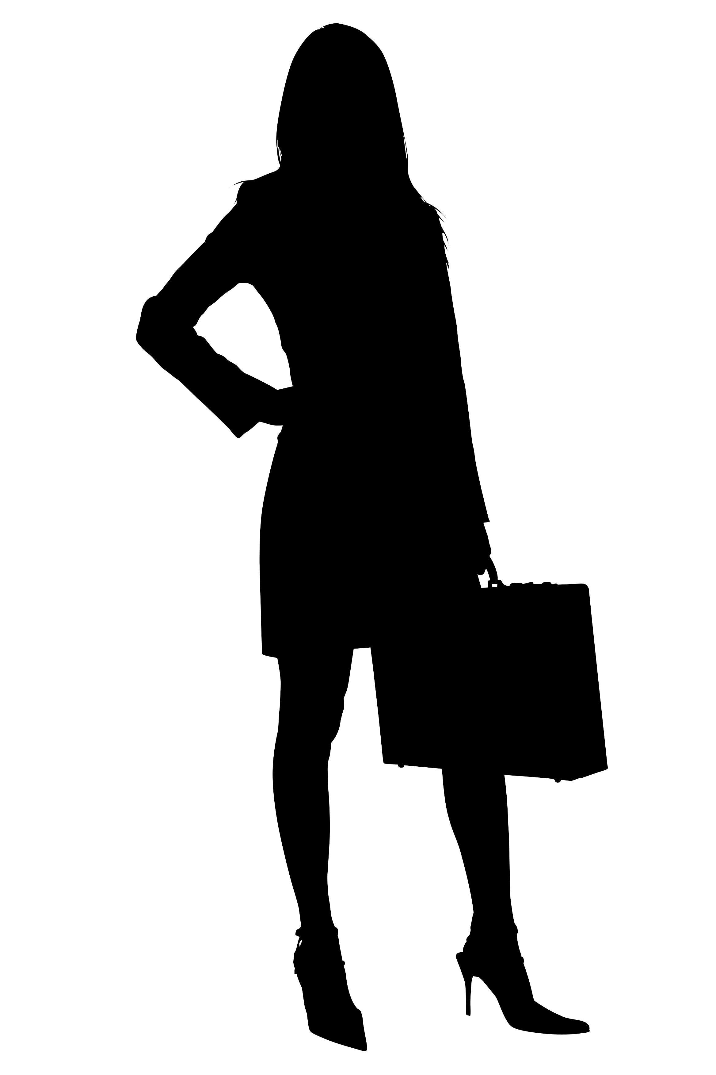 Artist achievement clipart sillohuette clipart transparent download Silhouette With Clipping Path of Business Woman with Briefcase ... clipart transparent download