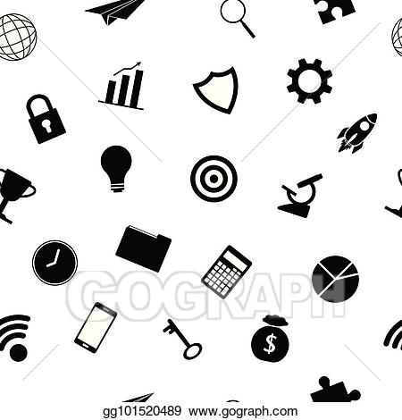 Artist achievement clipart sillohuette graphic free download Vector Stock - Business icons silhouette seamless pattern. Clipart ... graphic free download