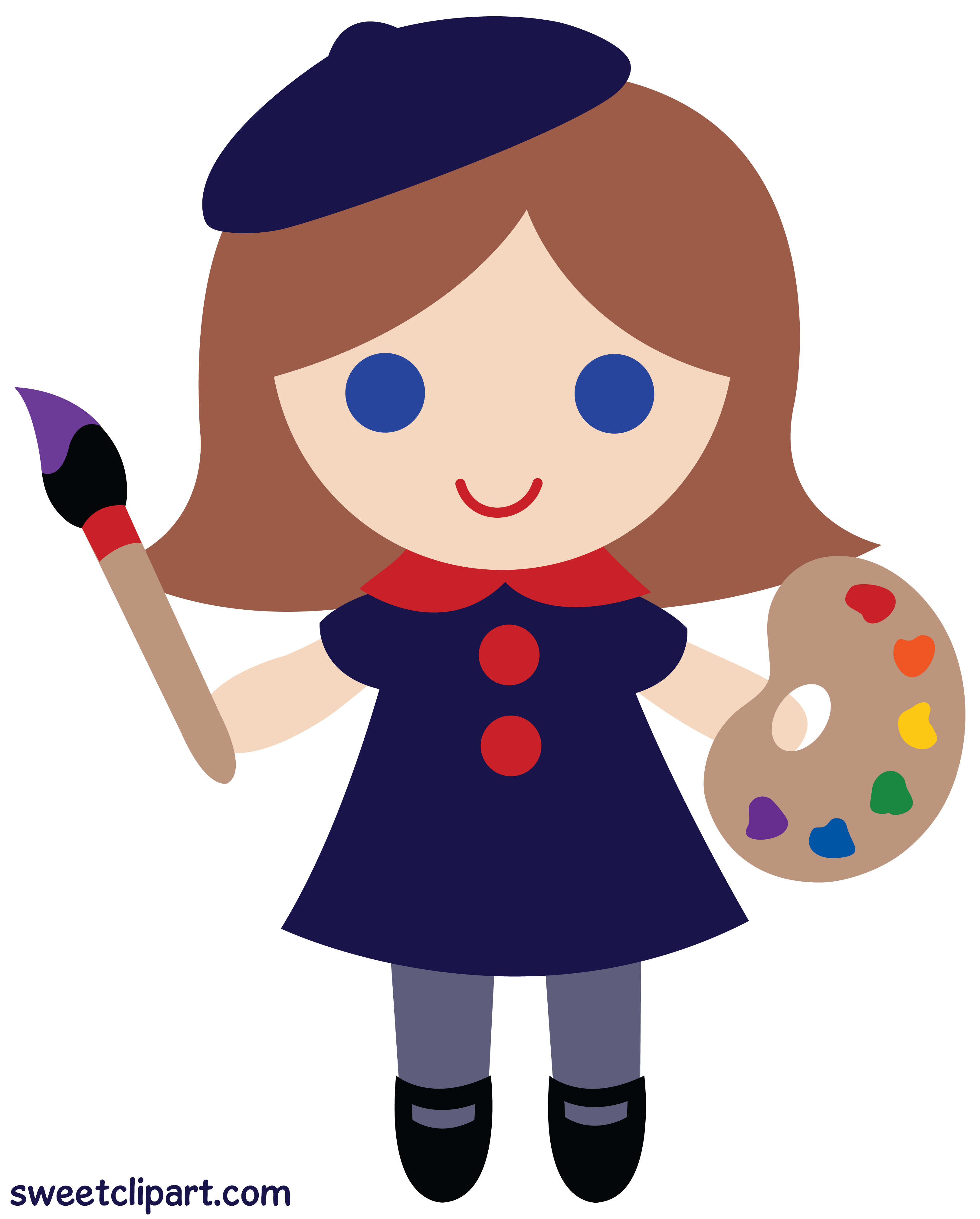 Artist clipart pictures image download Little Artist Girl Clip Art - Sweet Clip Art image download