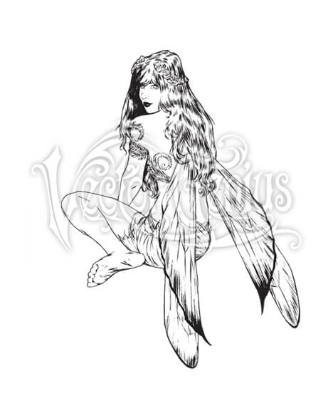 Artist clipart vector drawing jpg Sitting Fairy Fantasy Clipart jpg