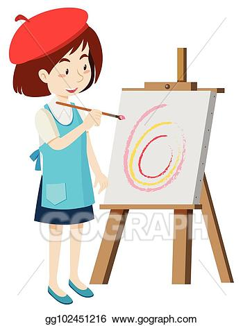 Artist painting clipart clip art transparent library Vector Clipart - Artist painting on canvas. Vector Illustration ... clip art transparent library