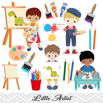 Artist painting clipart png library download Digital Little Artist Boy Clip Art, Boy Art Party Clip Art, Painting Boy  Clipart png library download