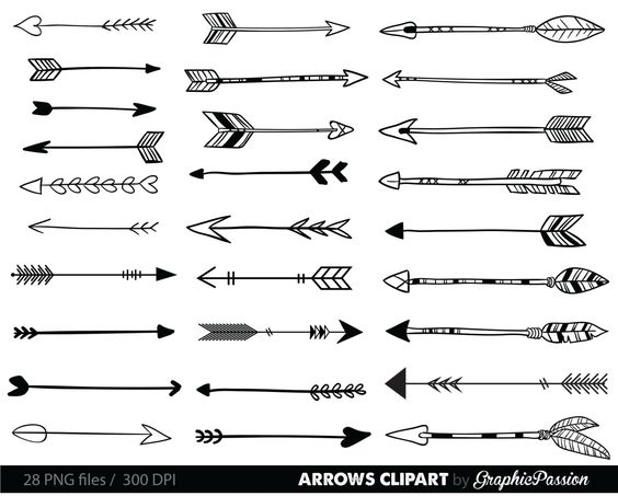 Artistic arrow clipart picture free stock Arrows clip art, tribal arrow clipart, archery hand drawn arrows ... picture free stock