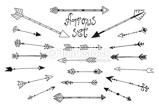 Artistic arrows. Set of hand drawn