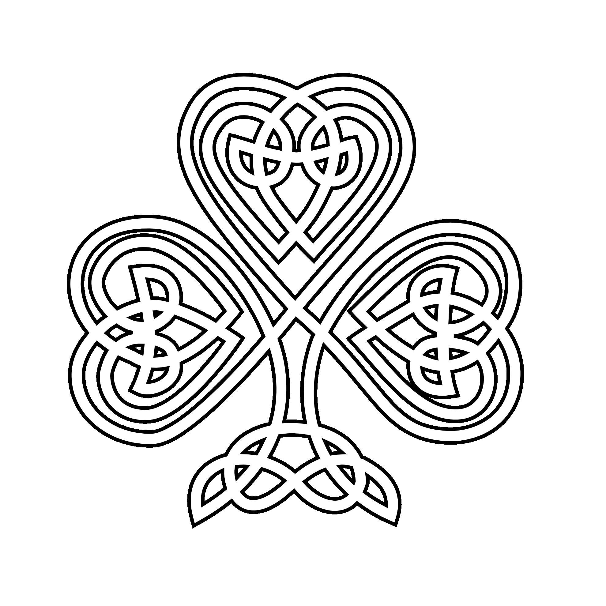 Simple celtic cross clipart jpg freeuse shamrock | Celtic Shamrock Black White Line Flower Art Coloring ... jpg freeuse