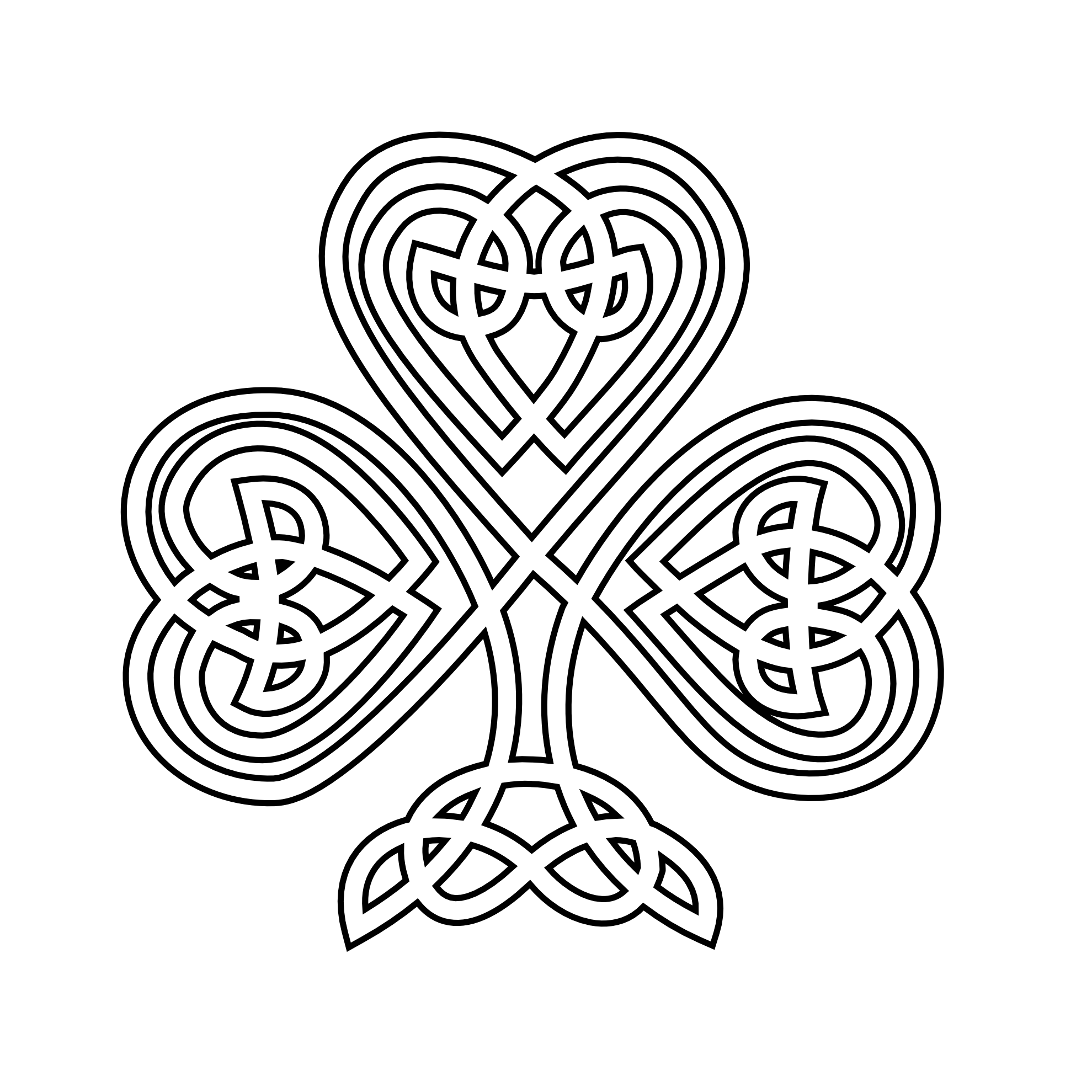 Artistic cross clipart svg library library shamrock | Celtic Shamrock Black White Line Flower Art Coloring ... svg library library
