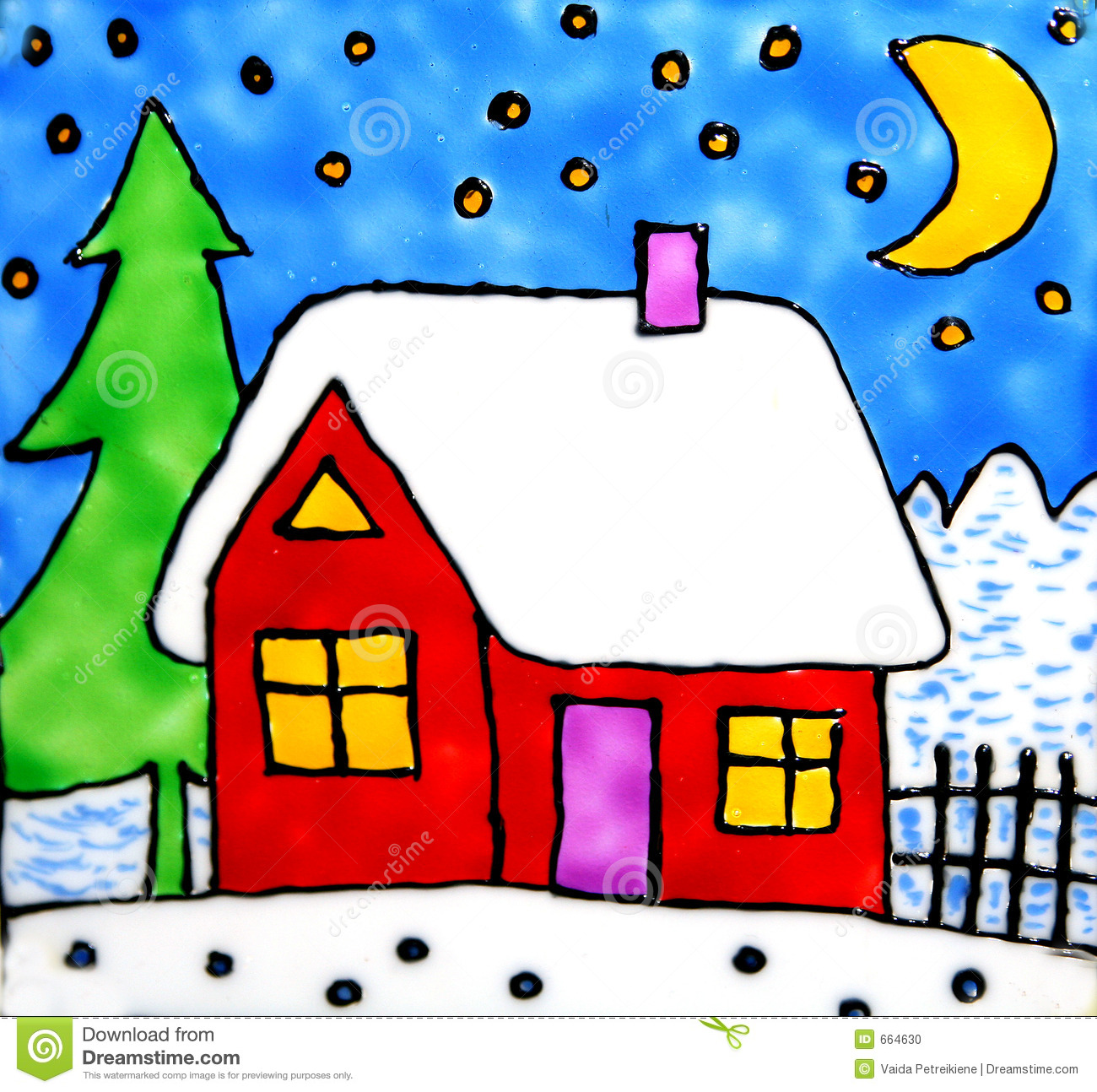 Artistic house clipart vector library library Artistic House In Winter Stock Photo - Image: 664630 vector library library