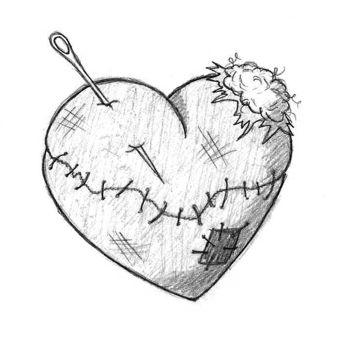 Artistic mended heart clipart black and white banner download Black And White Heart Sketch at PaintingValley.com | Explore ... banner download