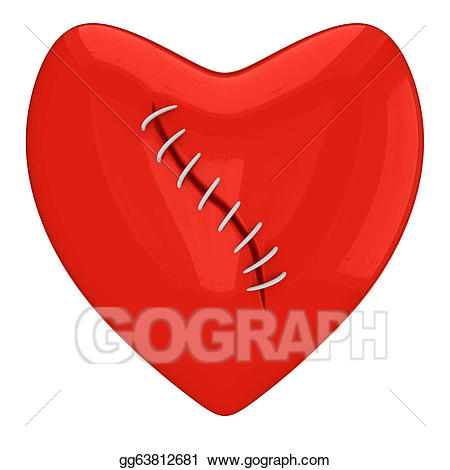 Artistic mended heart clipart black and white download Drawing - Sewed red heart. Clipart Drawing gg63812681 - GoGraph download