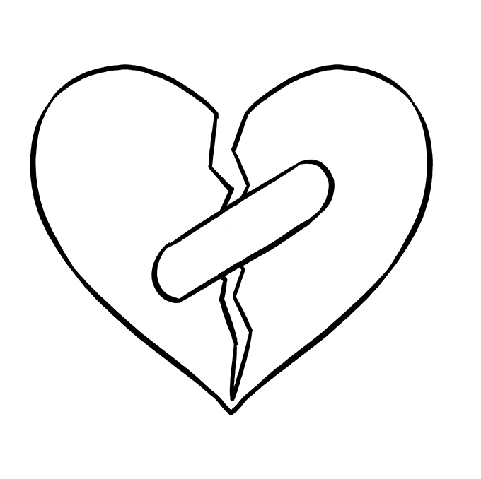 Artistic mended heart clipart black and white svg royalty free stock Heart Drawing Black And White at PaintingValley.com | Explore ... svg royalty free stock