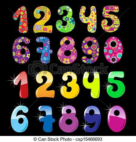 Artistic numbers clipart svg royalty free download EPS Vectors of Set of cute numbers - Set of cute bright numbers ... svg royalty free download