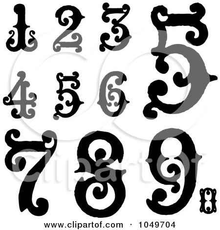 Artistic numbers clipart vector black and white Artistic numbers clipart - ClipartFest vector black and white
