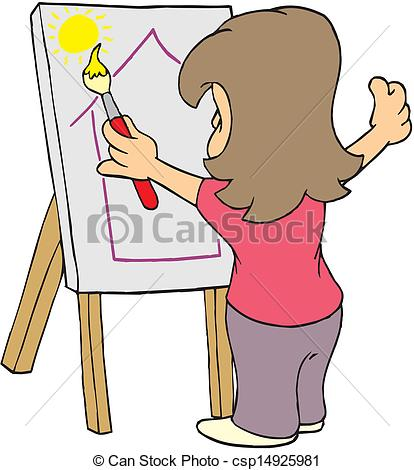 Artistic person clipart. Vector of female artist
