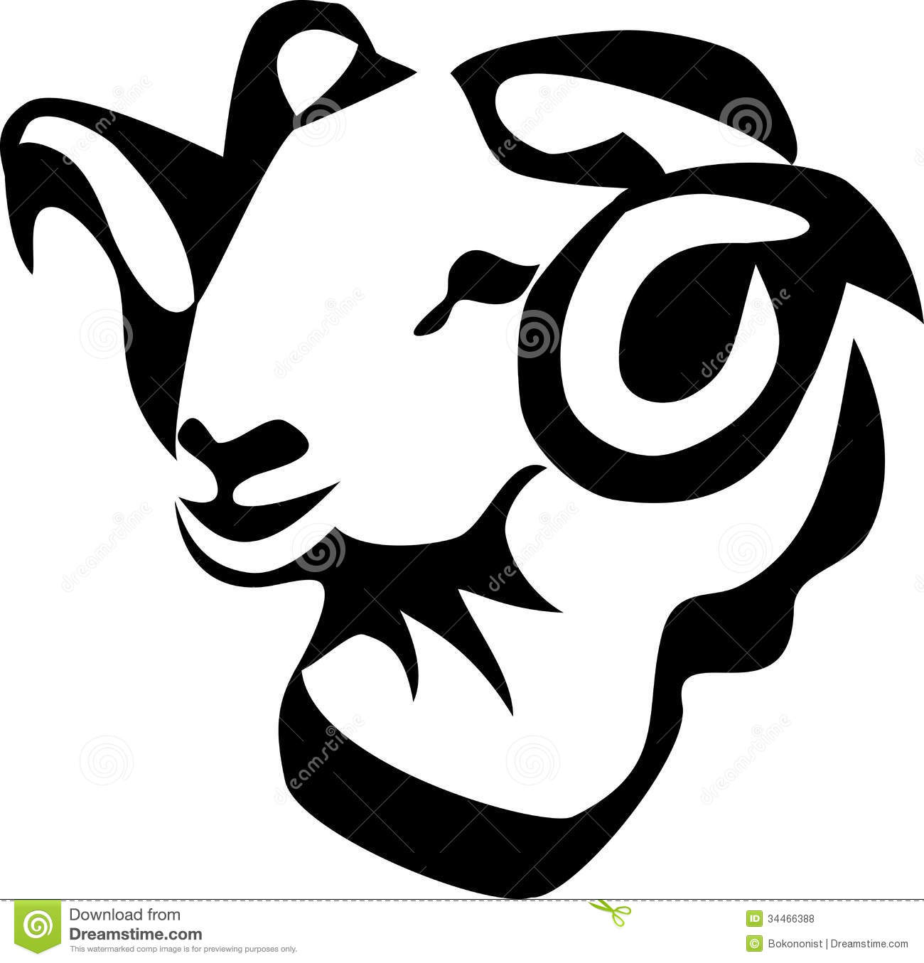 Artistic ram head clipart black and white graphic royalty free Ram head clip art - ClipartFest graphic royalty free