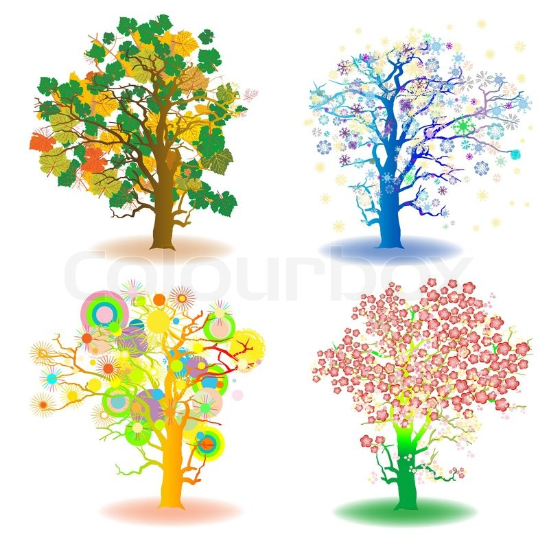Artistic tree clipart svg freeuse stock Four seasons trees, winter, spring, summer, autumn, artistic icons ... svg freeuse stock