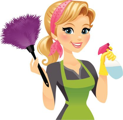 A pretty girl with a feather duster in one hand and a spray bottle ... clip royalty free