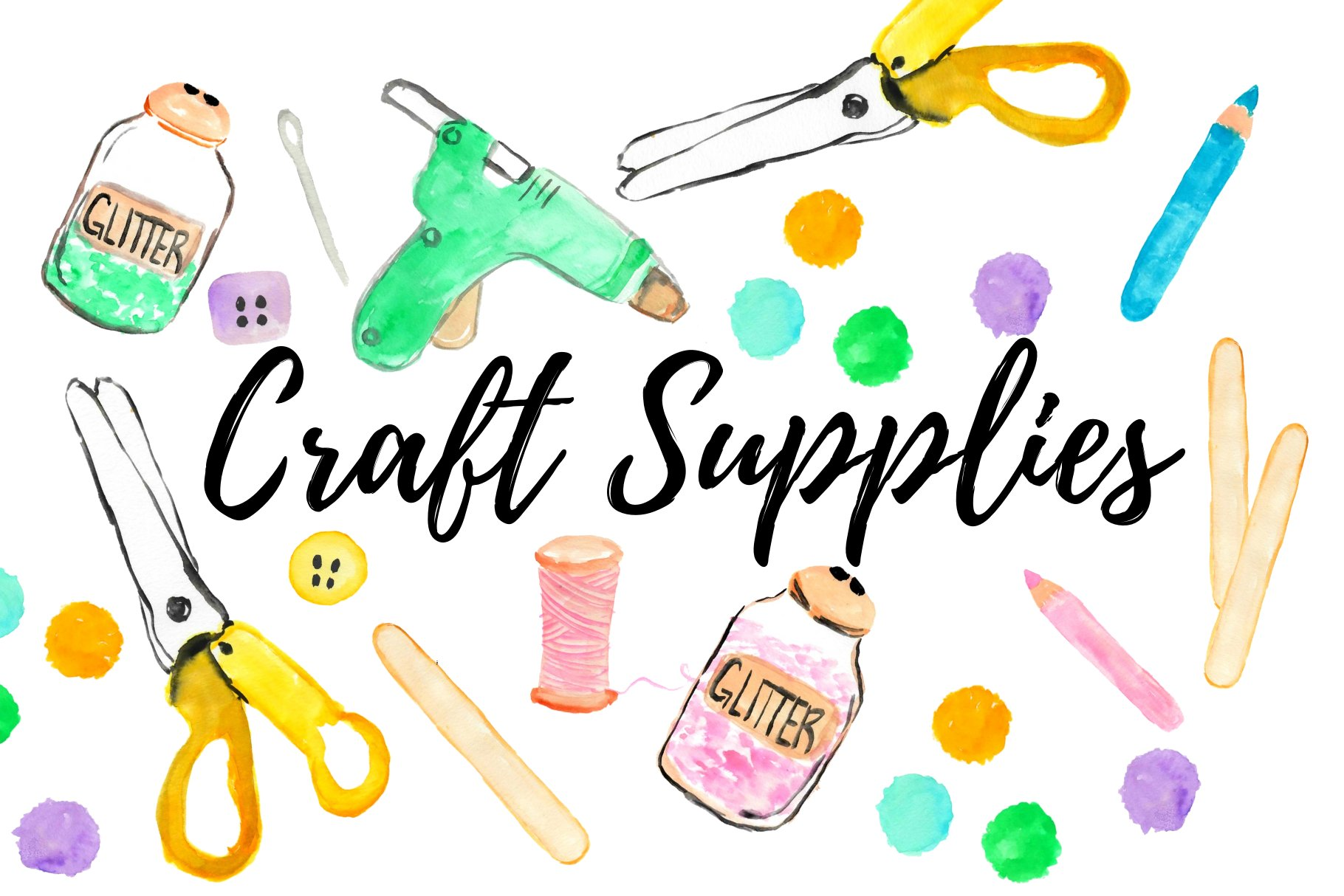 Arts and crafts shop clipart graphic Watercolor craft supplies clipart graphic