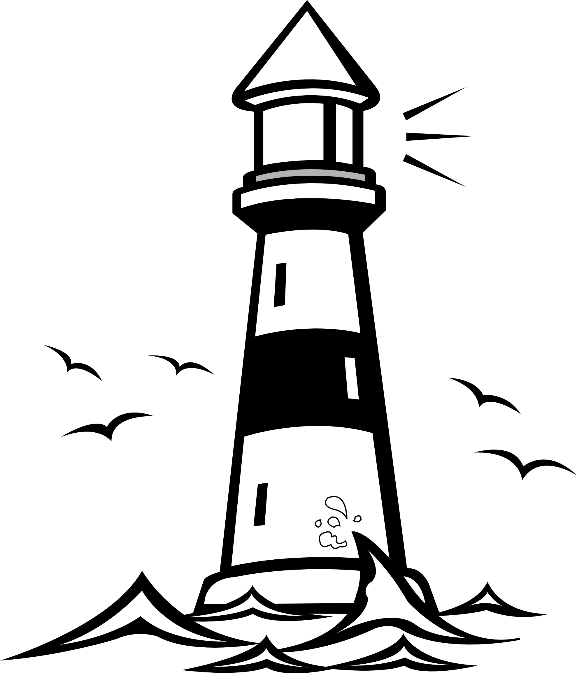 Light house clipart black and white