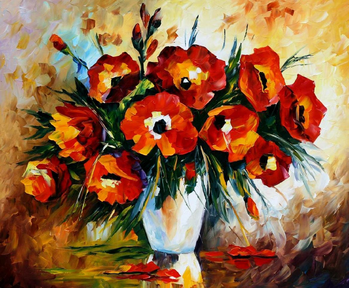 Artwork of flowers vector transparent library RED FLOWERS — Palette knife Oil Painting on Canvas by Leonid ... vector transparent library